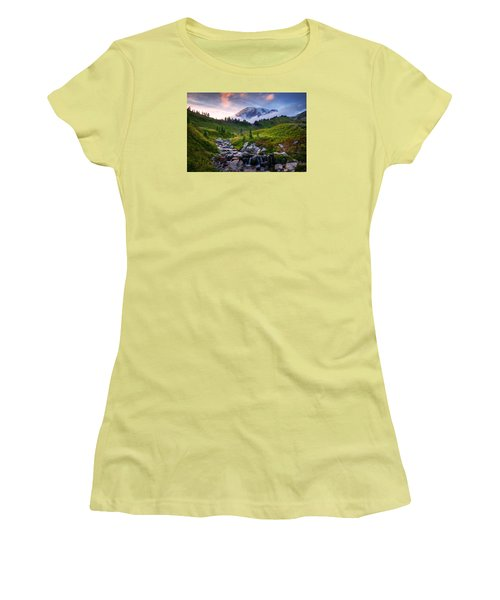 Women's T-Shirt (Junior Cut) featuring the photograph Edith Creek Sunset by Dan Mihai
