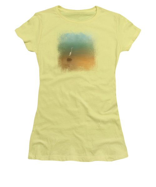 Egret At Sea Women's T-Shirt (Junior Cut) by Jai Johnson