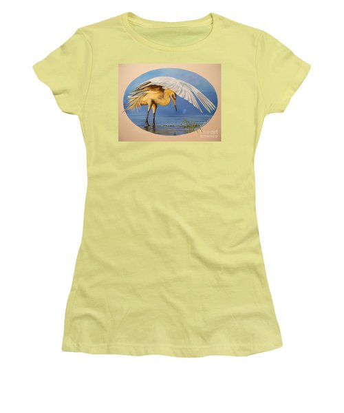Women's T-Shirt (Junior Cut) featuring the painting Egret Fishing by Sigrid Tune