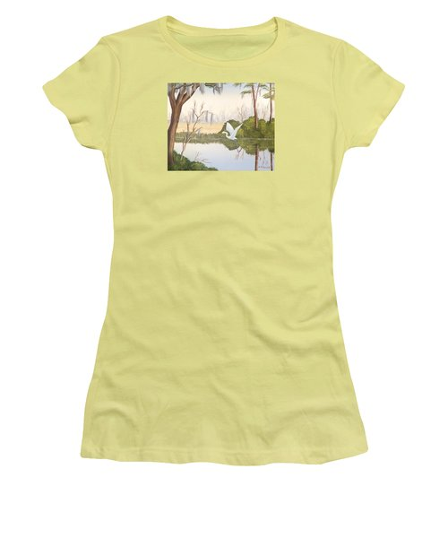 Egret In Flight 1 Women's T-Shirt (Junior Cut) by Denise Fulmer