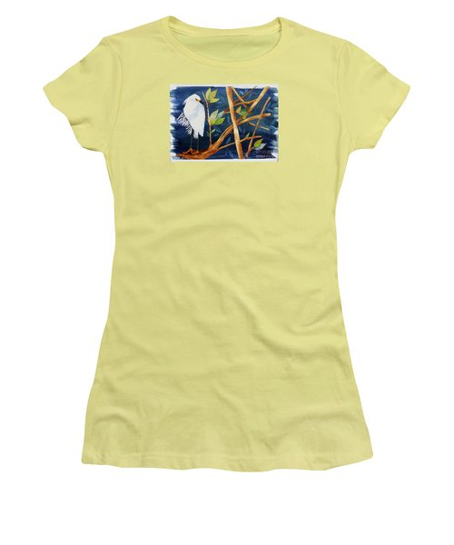 Egret In The Mangroves  Women's T-Shirt (Athletic Fit)