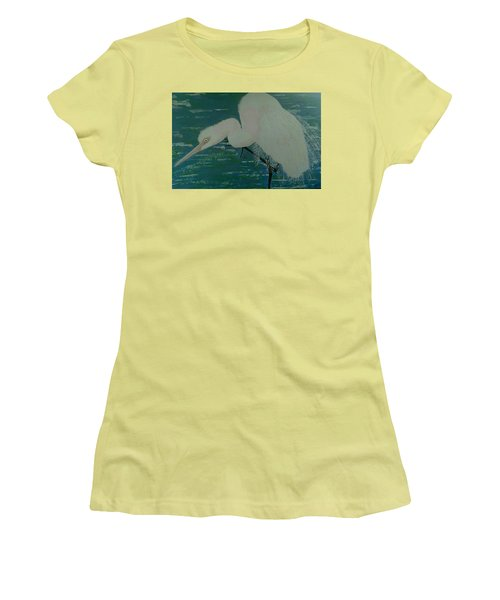 Women's T-Shirt (Junior Cut) featuring the painting Egret by Judi Goodwin