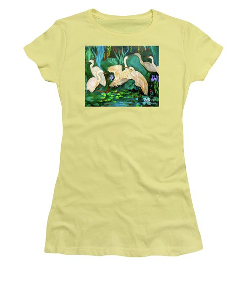 Egrets On Lotus Pond Women's T-Shirt (Junior Cut) by Jenny Lee