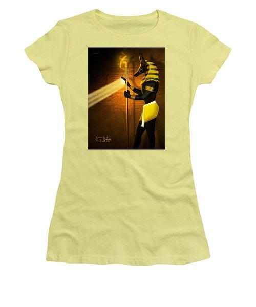 Egyptian God Anubis Women's T-Shirt (Junior Cut) by John Wills