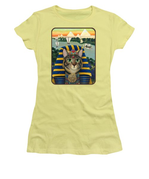 Egyptian Pharaoh Cat - King Of Pentacles Women's T-Shirt (Athletic Fit)