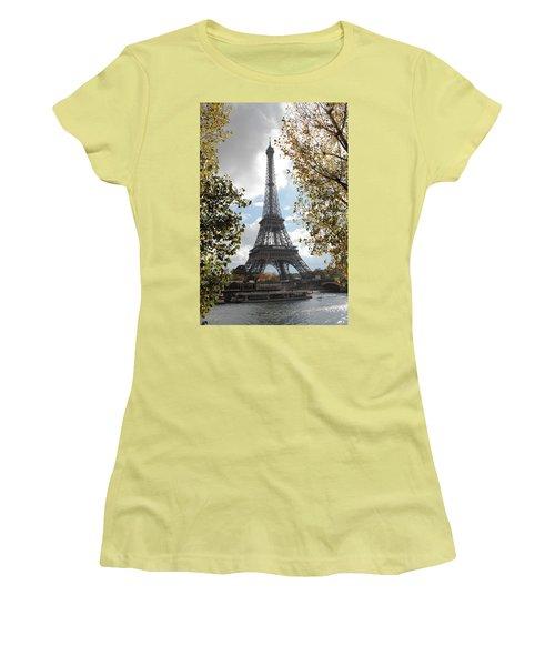 Women's T-Shirt (Junior Cut) featuring the photograph Eiffel From Avenue De New York by Christopher Kirby