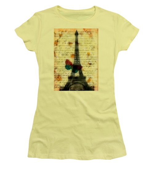 Women's T-Shirt (Junior Cut) featuring the painting Eiffel Tower Memory Encaustic by Bellesouth Studio