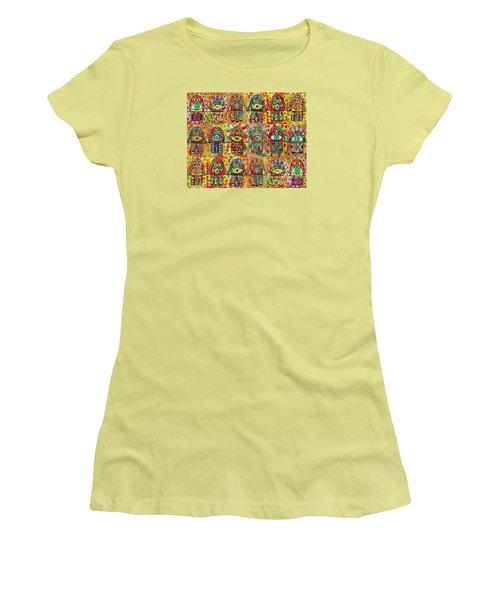 -eighteen Vintage Chai Hamsas Women's T-Shirt (Junior Cut) by Sandra Silberzweig