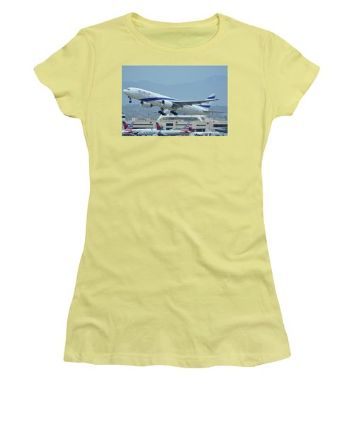 Women's T-Shirt (Junior Cut) featuring the photograph El Al Boeing 777-258er 4x-ece Los Angeles International Airport May 3 2016 by Brian Lockett