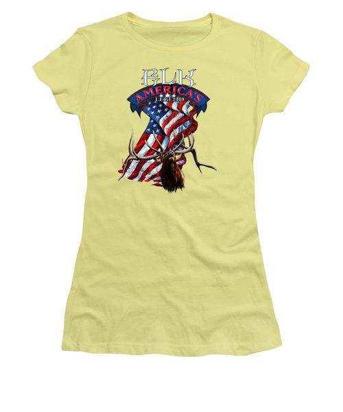 Elk America's Legend V2 Women's T-Shirt (Junior Cut) by Rob Corsetti