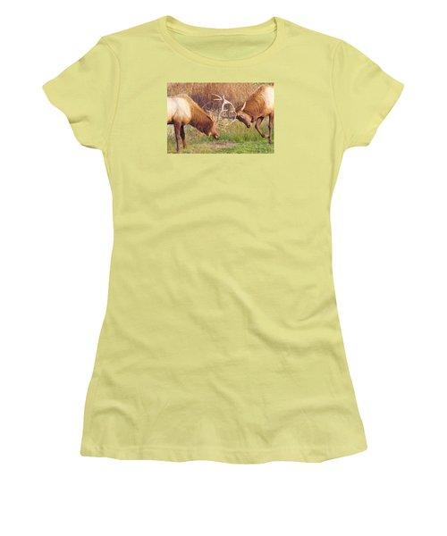 Elk Tussle Too Women's T-Shirt (Junior Cut) by Todd Kreuter