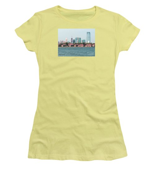 Women's T-Shirt (Junior Cut) featuring the painting Ellis Island And Nyc by Denise Tomasura
