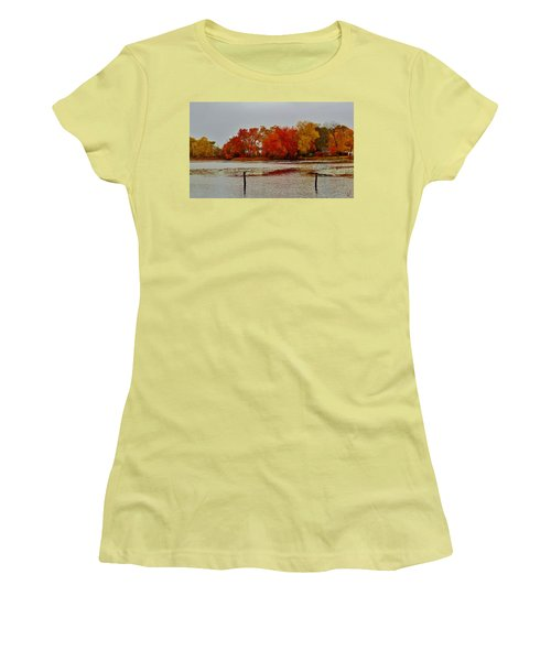 Women's T-Shirt (Athletic Fit) featuring the photograph Elmer Lake In Autumn by Ed Sweeney