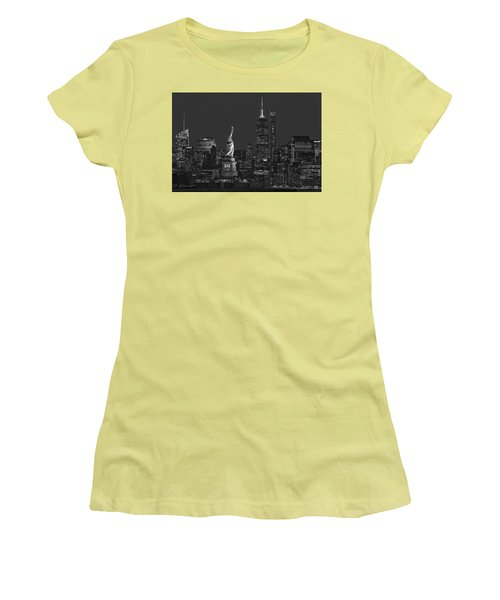 Women's T-Shirt (Athletic Fit) featuring the photograph Empire State And Statue Of Liberty II Bw by Susan Candelario