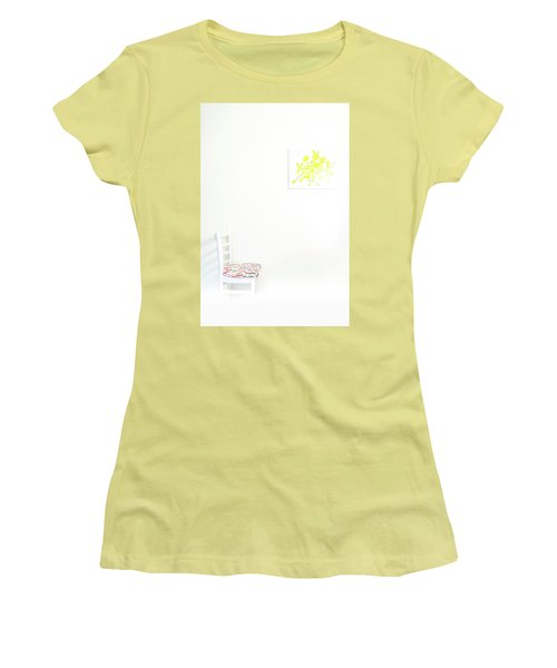 Empty Chair With Yellow Roses Women's T-Shirt (Athletic Fit)