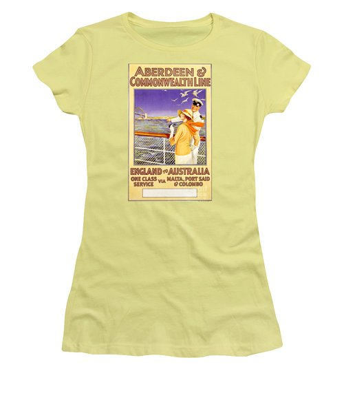 England To Australia Women's T-Shirt (Junior Cut) by Nostalgic Prints
