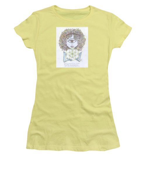 Women's T-Shirt (Junior Cut) featuring the drawing Enlightened Alien by Similar Alien
