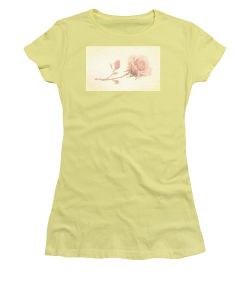 Women's T-Shirt (Junior Cut) featuring the photograph Etched Red Rose by Linda Phelps