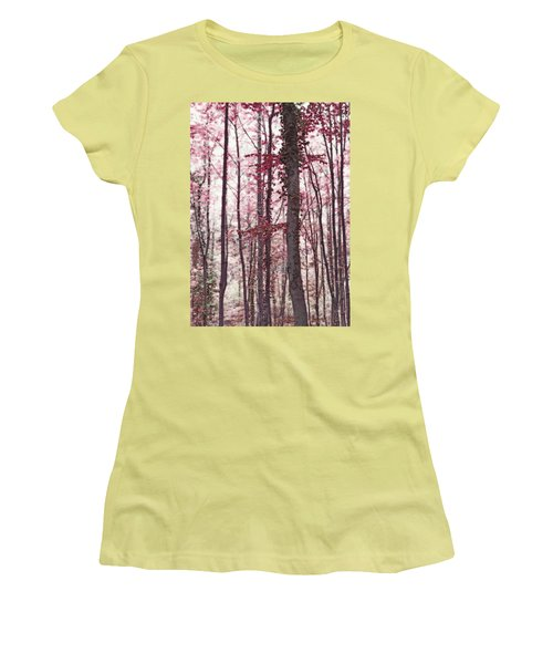 Ethereal Austrian Forest In Marsala Burgundy Wine Women's T-Shirt (Athletic Fit)