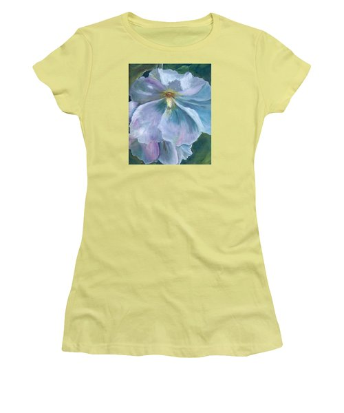 Ethereal White Hollyhock Women's T-Shirt (Junior Cut) by Jane Autry