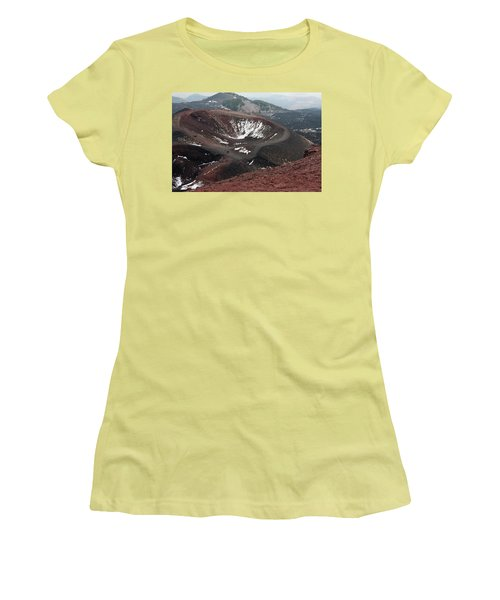 Etna, Red Mount Crater Women's T-Shirt (Junior Cut) by Bruno Spagnolo