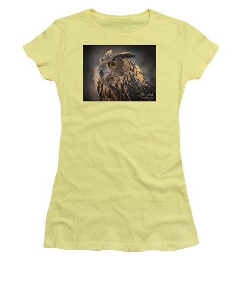 Eurasian Eagle Owl Portrait 2 Women's T-Shirt (Junior Cut) by Mitch Shindelbower