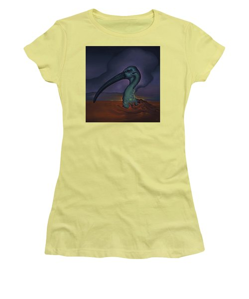 Women's T-Shirt (Junior Cut) featuring the painting Evening And The Hiss Of Sadness by Andrew Batcheller