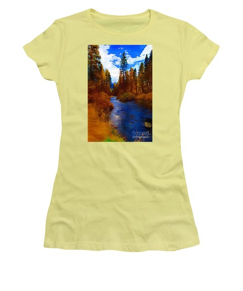 Evening Hatch On The Metolius Painting Women's T-Shirt (Junior Cut) by Diane E Berry