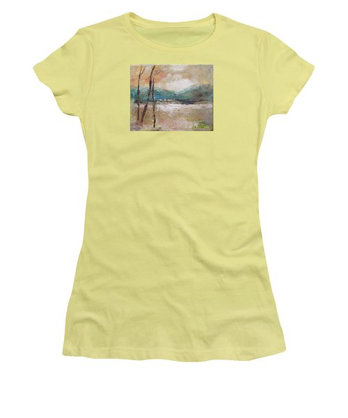 Women's T-Shirt (Junior Cut) featuring the painting Evening In Fall by Becky Kim