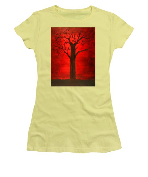 Evil Tree Women's T-Shirt (Junior Cut) by David Stasiak