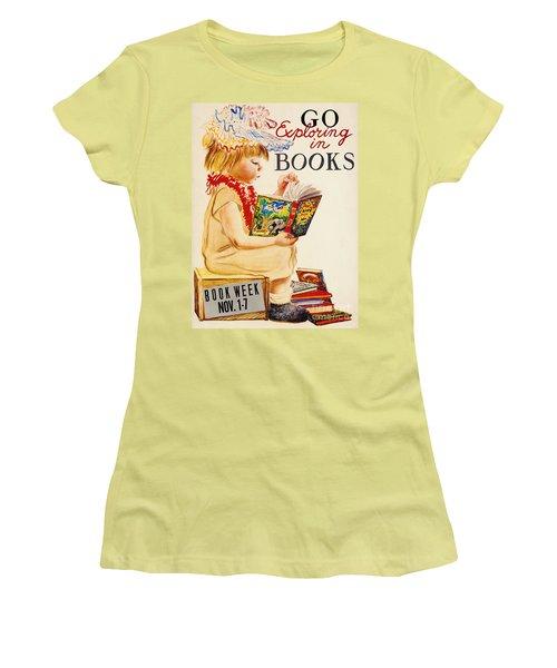 Women's T-Shirt (Junior Cut) featuring the photograph Exploring Books 1961 by Padre Art