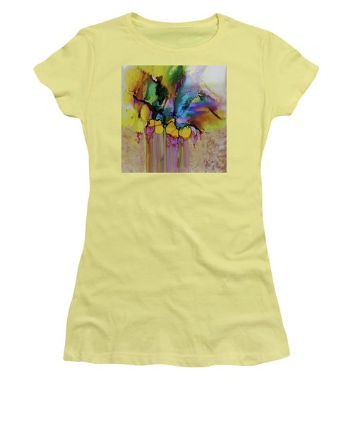 Women's T-Shirt (Junior Cut) featuring the painting Explosion Of Petals by Joanne Smoley