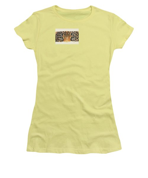 Women's T-Shirt (Junior Cut) featuring the painting Eye-catching Jaguar by Barbara Keith