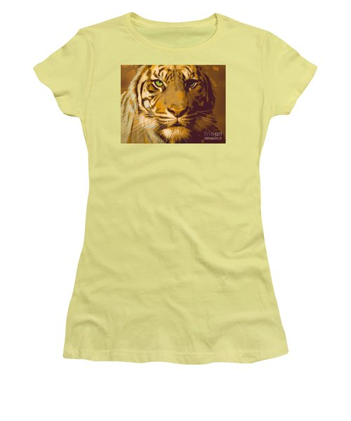 Eye Of The Tiger Animal Portrait  Women's T-Shirt (Athletic Fit)