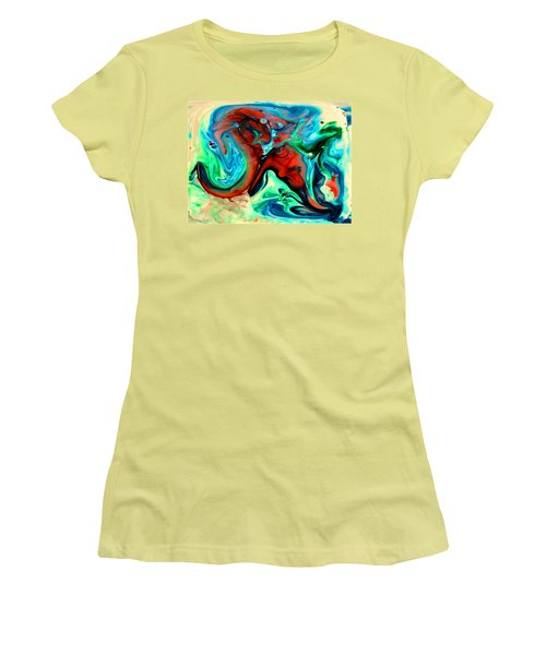 Women's T-Shirt (Junior Cut) featuring the painting Face To Face by Joyce Dickens