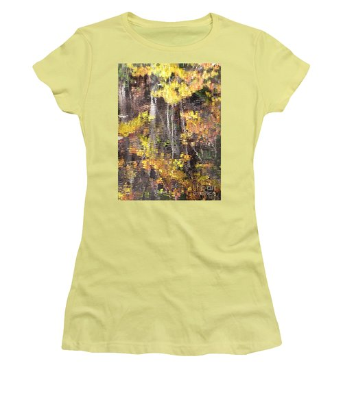 Women's T-Shirt (Junior Cut) featuring the photograph Fading Fall Water by Melissa Stoudt