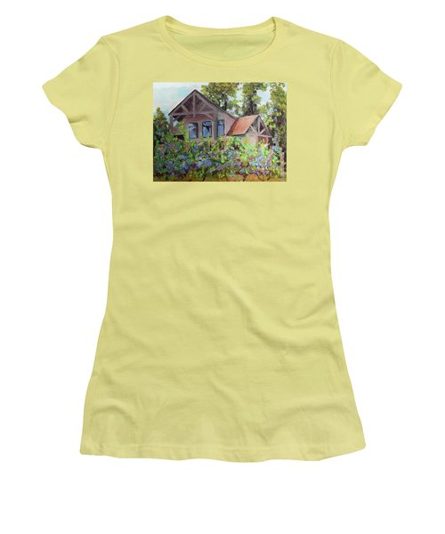 Women's T-Shirt (Athletic Fit) featuring the painting Fainting Goat Vineyard Through The Vines by Jan Dappen
