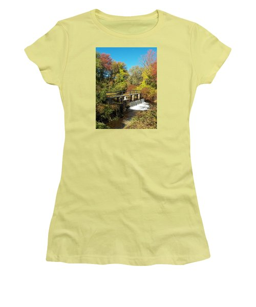 Fall At The Old Mill Stream Women's T-Shirt (Athletic Fit)