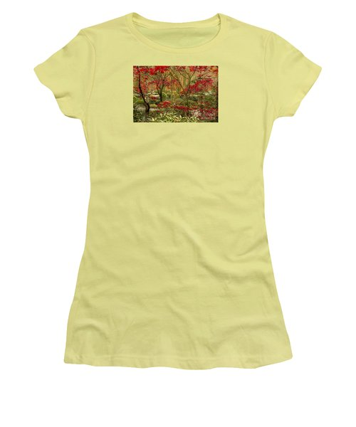 Women's T-Shirt (Junior Cut) featuring the photograph Fall Color In The Japanese Gardens by Barbara Bowen