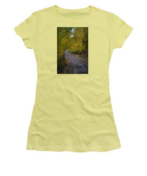 Fall Colors On Engineer Pass Women's T-Shirt (Junior Cut) by Michael J Bauer