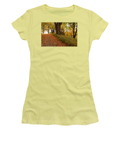 Fall Driveway Women's T-Shirt (Junior Cut) by Lois Lepisto