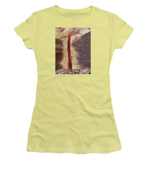 Women's T-Shirt (Junior Cut) featuring the painting Fall by Haleh Mahbod