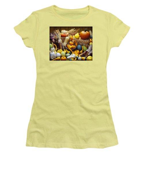 Women's T-Shirt (Junior Cut) featuring the photograph Fall Harvest by Martin Konopacki