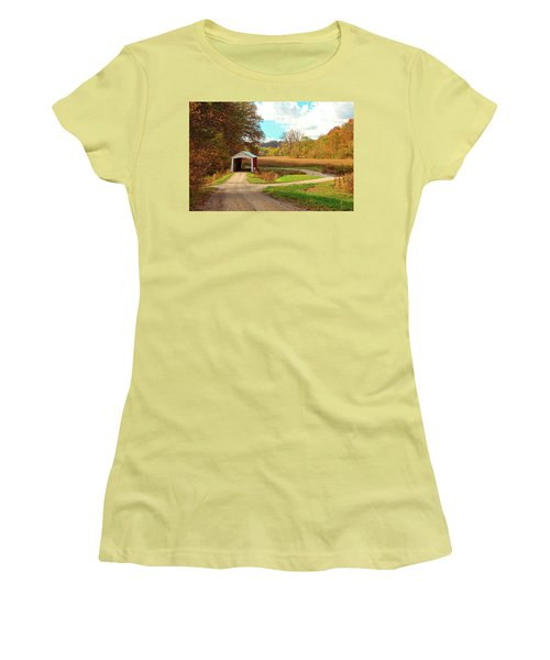 Women's T-Shirt (Junior Cut) featuring the photograph Fall Harvest - Parke County by Harold Rau
