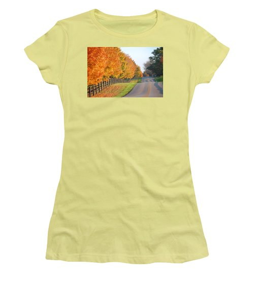 Fall In Horse Farm Country Women's T-Shirt (Junior Cut) by Sumoflam Photography