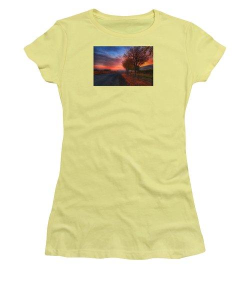 Fall Sunrise Women's T-Shirt (Junior Cut) by Lynn Hopwood