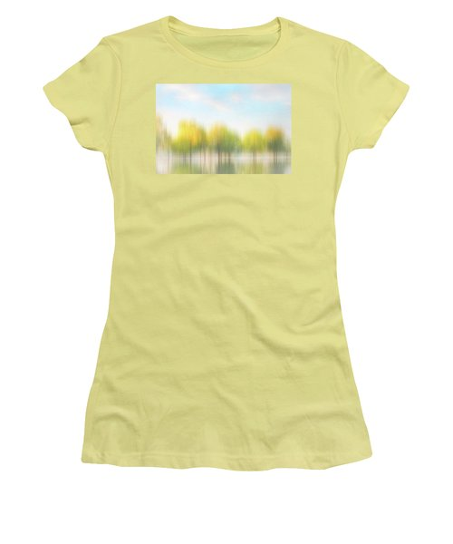 Fall Trees On Flooded Lake Women's T-Shirt (Junior Cut) by Robert FERD Frank