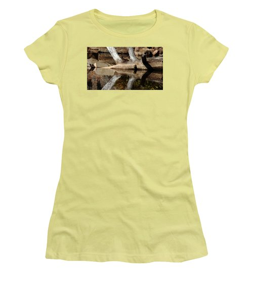 Fallen Tree Mirror Image Women's T-Shirt (Junior Cut) by Debbie Oppermann