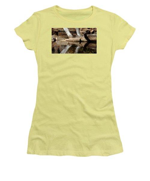 Women's T-Shirt (Junior Cut) featuring the photograph Fallen Tree Mirror Image by Debbie Oppermann