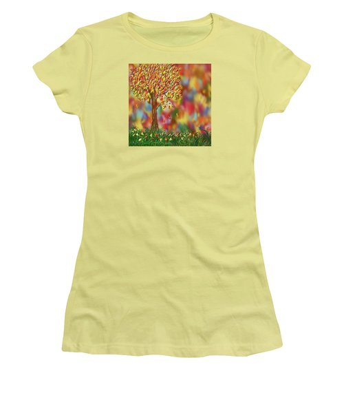 Falling Leaves Women's T-Shirt (Junior Cut) by Kevin Caudill